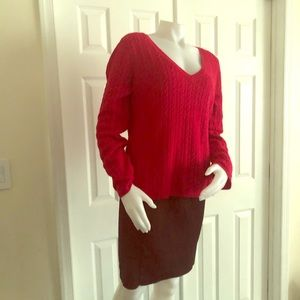 Talbots Red Sweater Large Ribbed